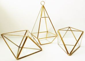 Gold & Glass Asymmetrical Tea Light Holders - $5 each, 6 Available.
