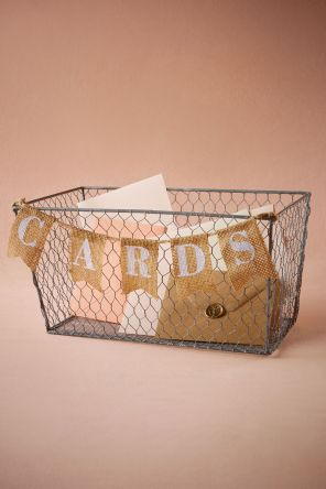 Wire Card Basket. Dimensions 16.5cm(H) x 35cm (L). $30